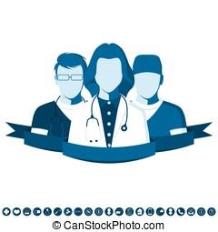 plat, style, emblème, à, groupe, de, médecins