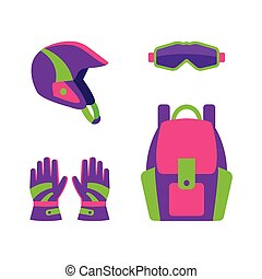 plat, style, engrenage, snowboarding, ski, habillement