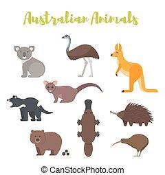 plat, style, ensemble, animals., vecteur, australien
