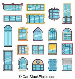 plat, style, ensemble, bois, plastique, fenetres, verre., architectural, illustrations, ou, balcon