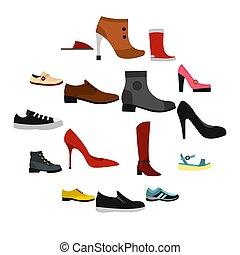 plat, style, ensemble, chaussure, icônes