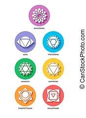 plat, style, ensemble, couleur, isolé, chakra, icône