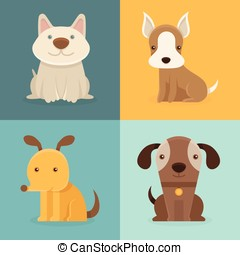 plat, style, ensemble, dessin animé, vecteur, chiens