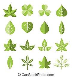 plat, style, ensemble, feuilles, vecteur, icône