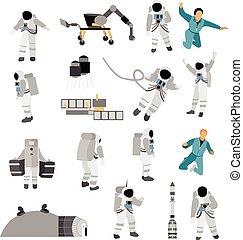 plat, style, ensemble, fusée espace, isolé, lune, complet, arrière-plan., astronautes, vecteur, vagabond, station, icônes, blanc
