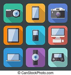 plat, style, ensemble, gadget, vecteur, électronique, icône