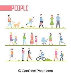 plat, style, ensemble, gens, -, illustration, vecteur, conception, caractères, dessin animé