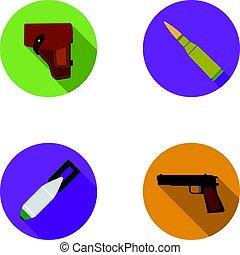 plat, style, ensemble, icônes, cartouche, bombe, symbole,...