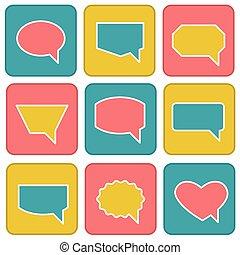 plat, style, ensemble, icônes, couleur, parole, bulles