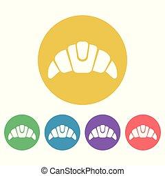 plat, style, ensemble, icônes, croissant, vecteur, rond