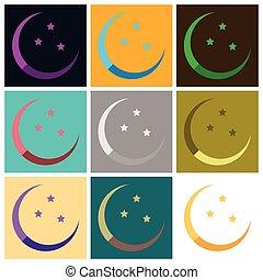 plat, style, ensemble, icônes, ramadan, lune, étoiles
