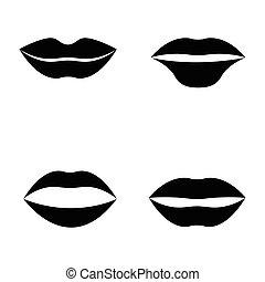 plat, style, ensemble, lèvres, bouche, femmes, icône