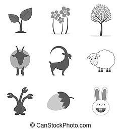 plat, style, ensemble, nature, icônes, isolé, symboles, arrière-plan., branché, blanc