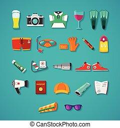 plat, style, ensemble, objets, voyage, vecteur, &, tourisme, icône