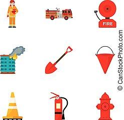 plat, style, ensemble, pompier, équipement, icône