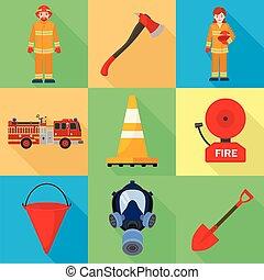 plat, style, ensemble, pompier, métier, icône