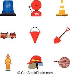 plat, style, ensemble, pompier, outils, icône