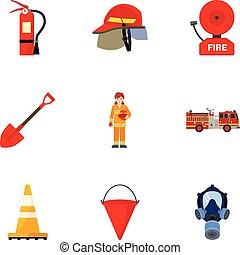 plat, style, ensemble, pompier, sécurité, icône
