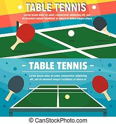 plat, style, ensemble, tennis, table, bannière, jouer