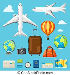 plat, style, ensemble, voyage, objets