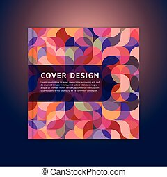 plat, style, espace, couleur, moderne, couverture, titre, géométrique, logo.