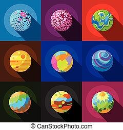 plat, style, espace, ensemble, icônes, planètes