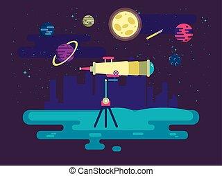 plat, style, extérieur, télescope, illustration espace, fond