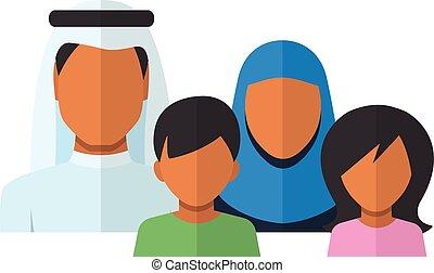 plat, style, famille, avatars, arabe, membres