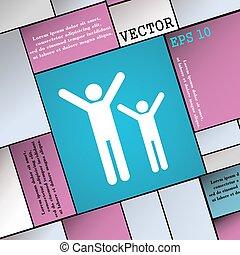 plat, style, famille, signe., moderne, vecteur, icône, heureux, ton, design.