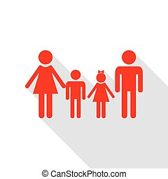 plat, style, famille, signe., ombre, path., rouges, icône