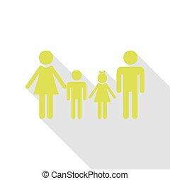 plat, style, famille, signe., poire, ombre, path., icône