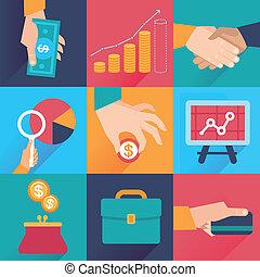 plat, style, finance, icones affaires, -, vecteur