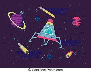 plat, style, fond, espace, voler, illustration, capsule, étoiles, planètes