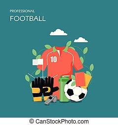 plat, style, football, illustration, vecteur, conception, professionnel