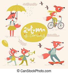 plat, style, foxes., automne, vecteur, retro, dessin animé, carte