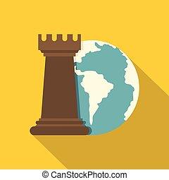 plat, style, freux, globe, échecs, icône, la terre