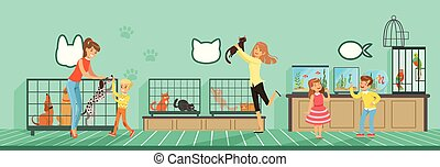 plat, style, gens, chouchou, illustration, magasin, animaux familiers, achat