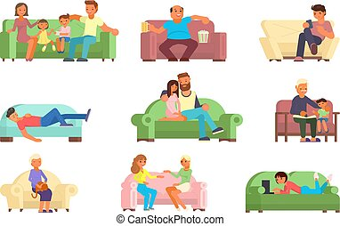 plat, style, gens, sofa, illustration, vecteur