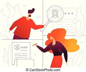 plat, style, gestion, coloré, hr, -, illustration, conception