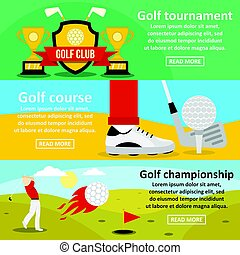 plat, style, golf, ensemble, tournoi, horizontal, bannière