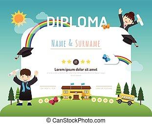 plat, style, gosses, disposition, gabarit, certificat, cadre, jardin enfants, concept, conception, fond, art, diplôme, education, préscolaire, vector.