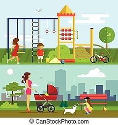 plat, style, gosses, illustration, enfants, vecteur, cour de récréation, playground., jouer, design.