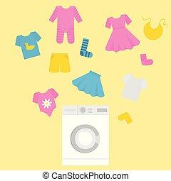 plat, style, gosses, lavage, service, filles, peu, clothes., équipement, machine, garçons, nettoyage, children., lessive