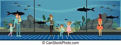 plat, style, gosses, visiter, fish, regarder, gens, illustration, excursion, leur, vecteur, oceanarium, mer, prof