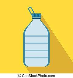 plat, style, grand, bouteille eau, icône