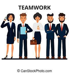 plat, style, groupe, business, arrière-plan., businesspeople., femme affaires, isolé, illustration, characters., team., vecteur, teamwork., homme affaires, blanc