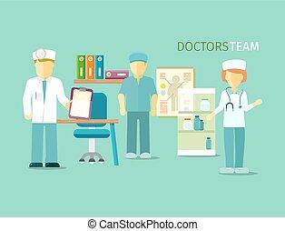 plat, style, groupe, gens, médecins, équipe