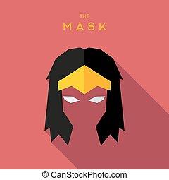plat, style, héros, illustration, masque, scélérat, vecteur,...