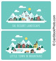 plat, style, hiver, neigeux, ski, resort., illustration, vecteur, conception, fond, nuit, montagnes., paysage