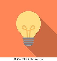 plat, style, icône, ampoule, lumière
